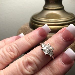 Ring Cathedral Princess Cubic Z Silver-Platted 6.5